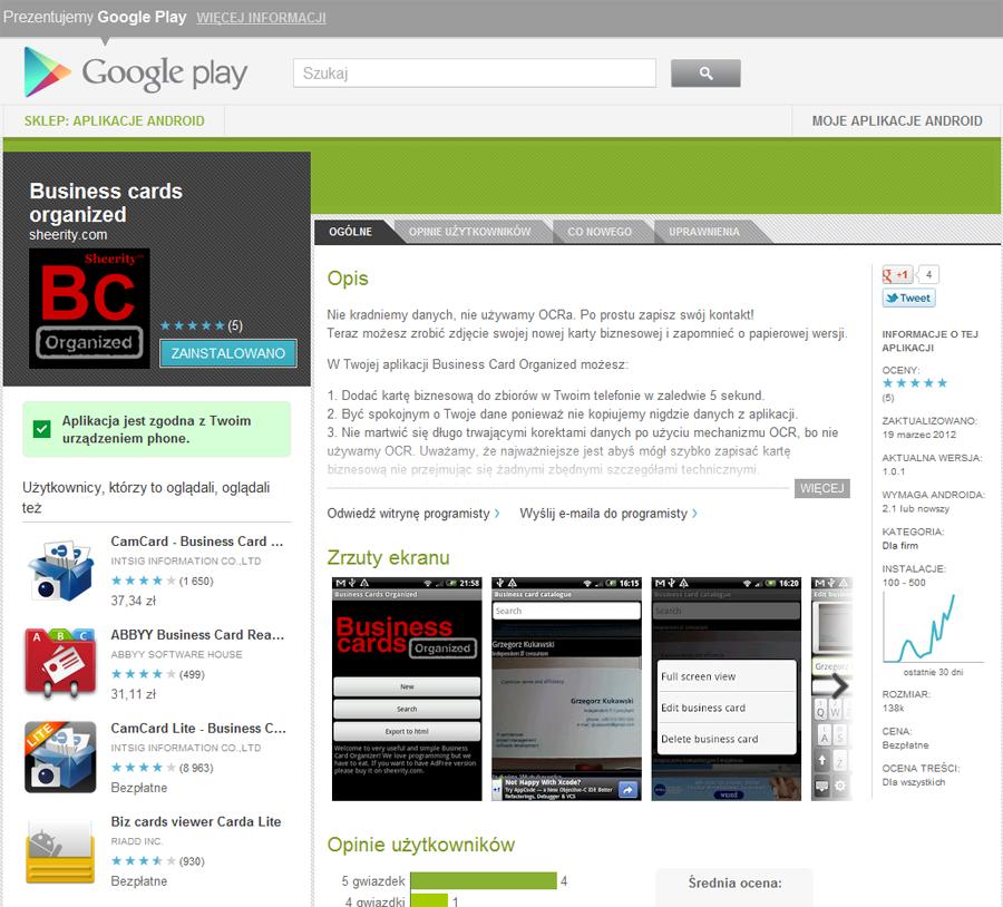 Ekran aplikacji w google play